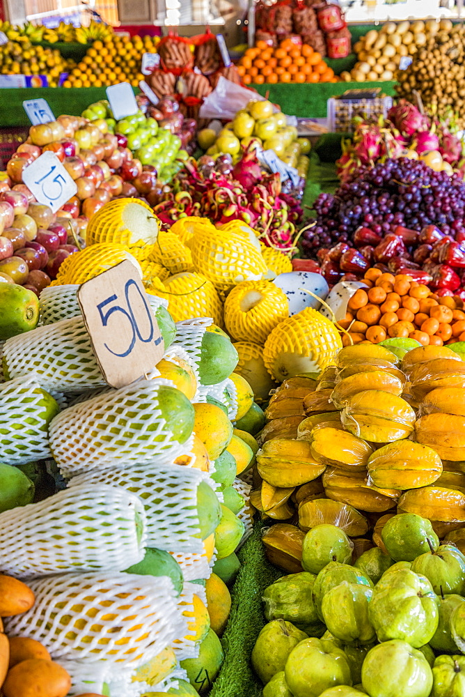 A market stall selling fruit in Phuket Old Town, Phuket, Thailand, Southeast Asia, Asia