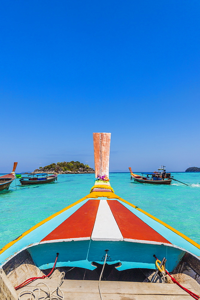A colourful long tail boat on Ko Lipe Island in Tarutao National Marine Park, Thailand, Southeast Asia, Asia.