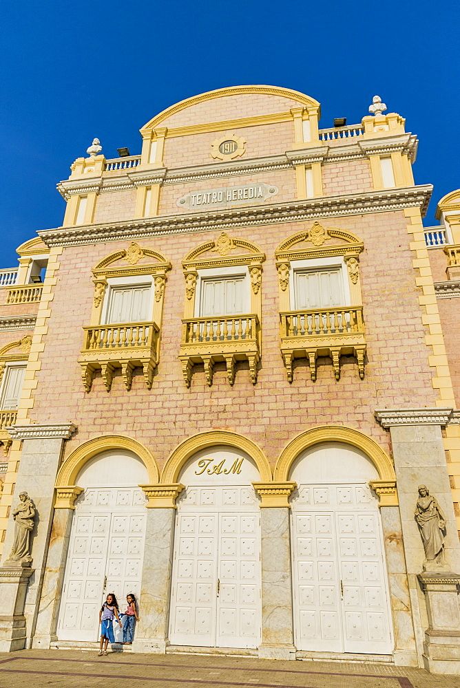 The facade of the Teatro Heredia (Teatro Adolfo Mejia) in Cartagena de Indias, Colombia, South America