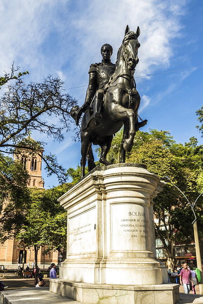 A statue of Simon Bolivar, in Parque Bolivar in Medellin Colombia.