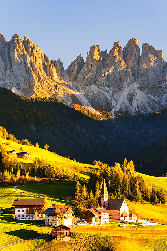 Funes valley in autumn season, Santa Magdalena in Trentino Alto Adige, Bolzano province, Italy, Europe - 1299-123