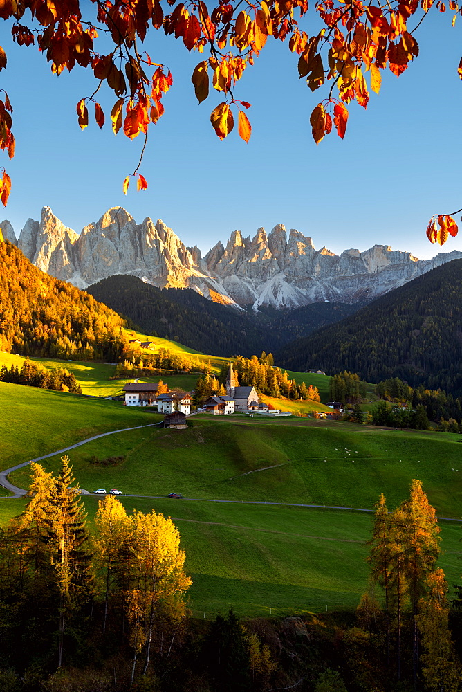 Funes valley in autumn season, Santa Magdalena in Trentino Alto Adige, Bolzano province, Italy, Europe - 1299-124