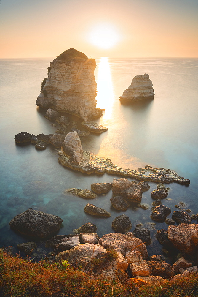 Sunrise at the Faraglioni of Torre dell'Orso, Meledugno, Lecce province, Apulia, Italy, Europe - 1299-65