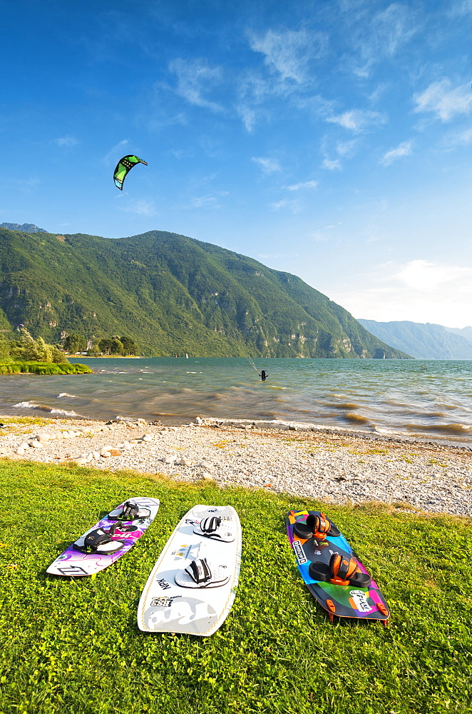 Kytesurf on Lake Idro, Valle Sabbia in Lombardy District, Brescia Province, Italy. - 1299-73