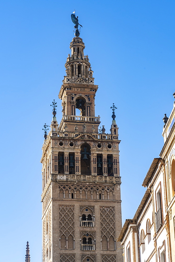 View of la Giralda, the bell tower of the cathedral of Seville, It was originally the minaret for the Great Mosque of Seville