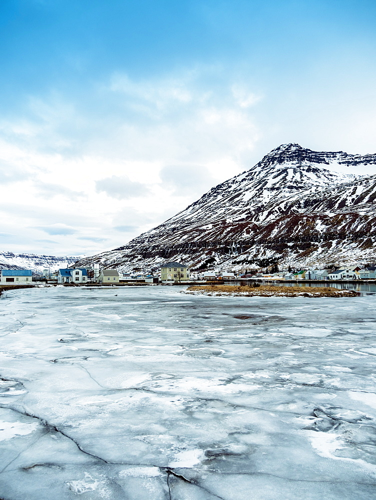 Seyoisfjorour city in winter before sunrise with ice frozen, Eastern region, Iceland, Polar Regions - 1300-15