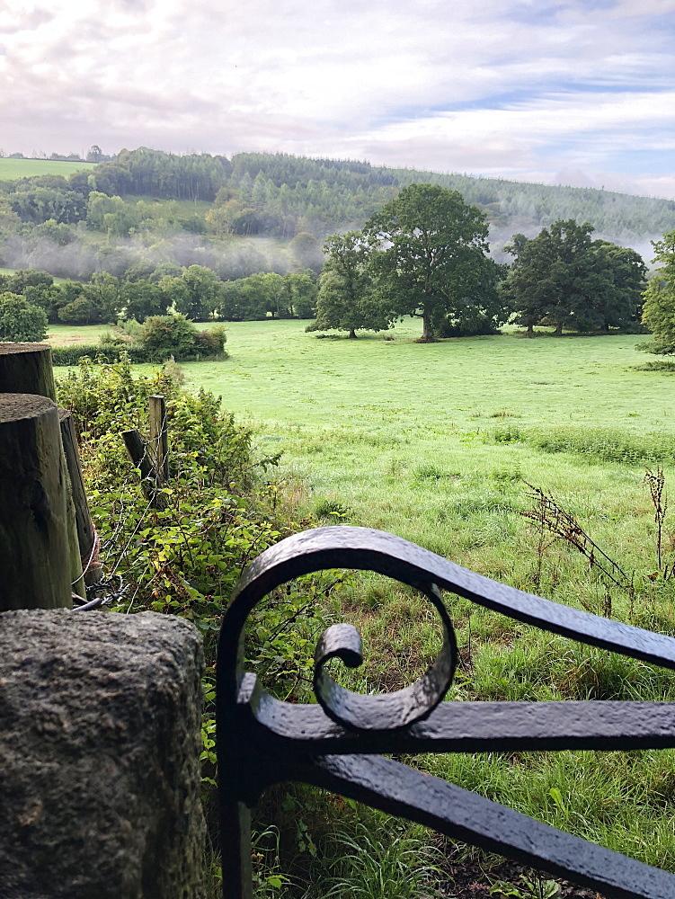 View over farm fields in Oakhampton, Devon, England