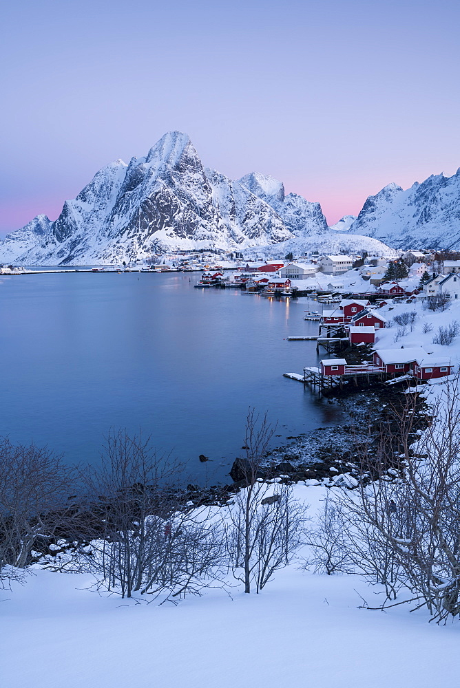 Sunrise at Reine in winter, Reinefjord, Moskenesoya, Lofoten, Arctic, Norway, Europe