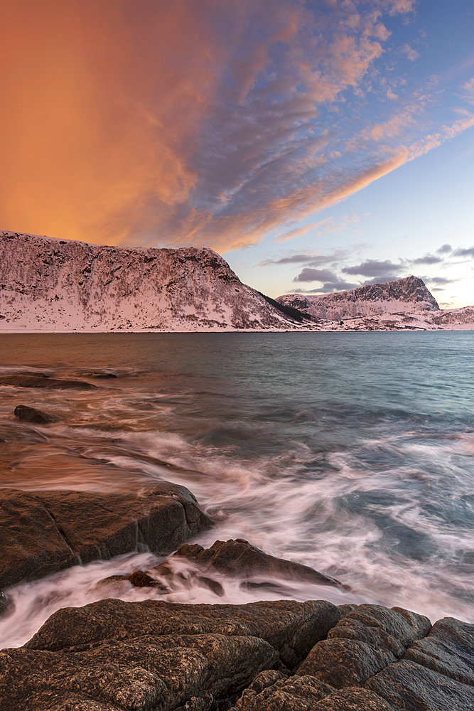 A dramatic sunset at Haukland Beach, Lofoten, Nordland, Arctic, Norway, Europe