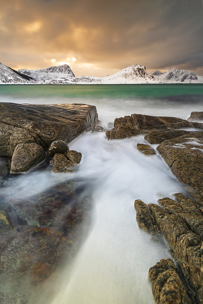 Haukland Beach in winter, Lofoten, Nordland, Norway