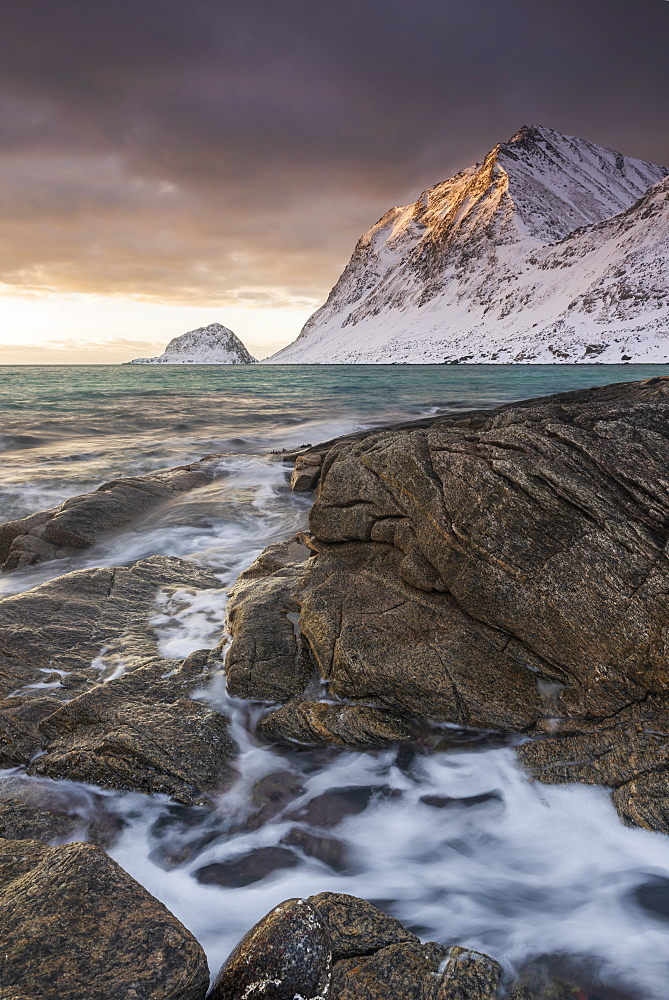 Sunset at Haukland Beach in winter, Lofoten, Nordland, Norway