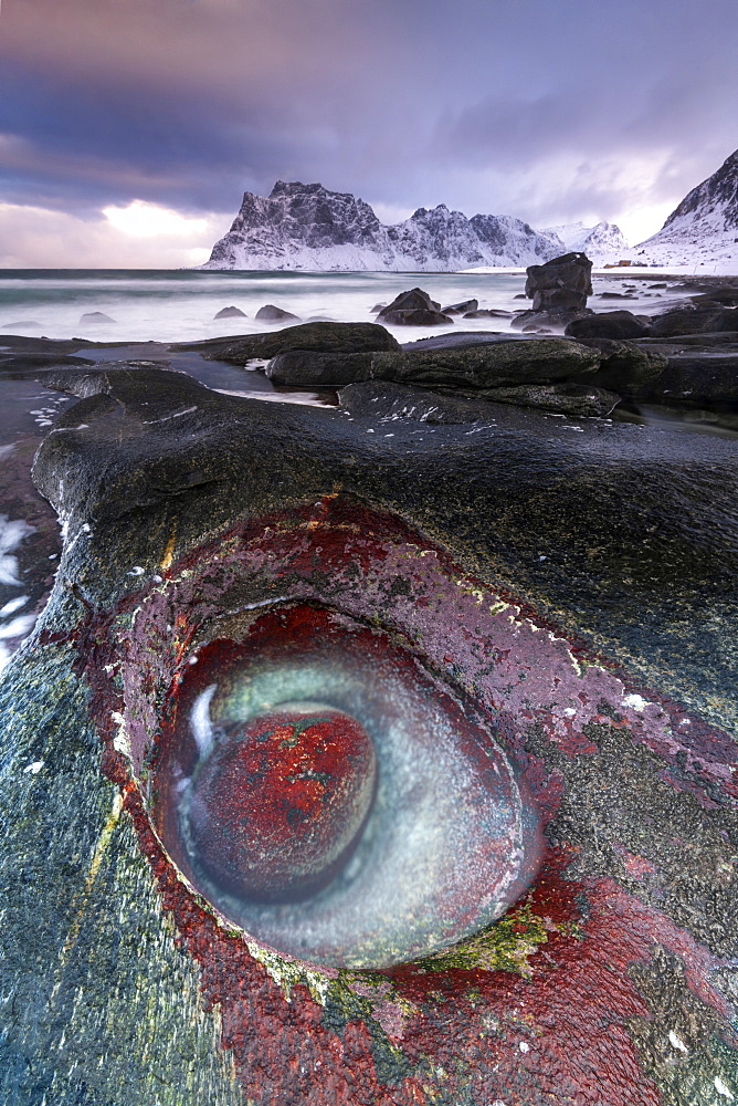 Unusual rock formation at Uttakleiv Beach, Vestvagoy, Lofoten Islands, Nordland, Norway