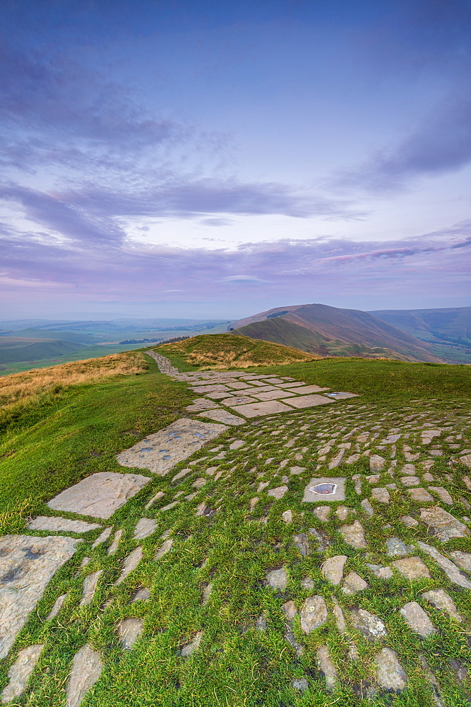 Rushup Edge view from Mam Tor summit, Hope Valley, Edale, Peak District, Derbyshire, England, United Kingdom, Europe
