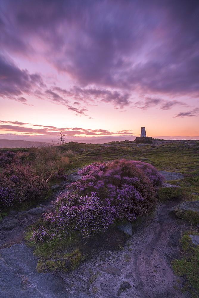 Sunrise at Cloudside trig point, Congleton, Cheshire, England, United Kingdom, Europe - 1306-559