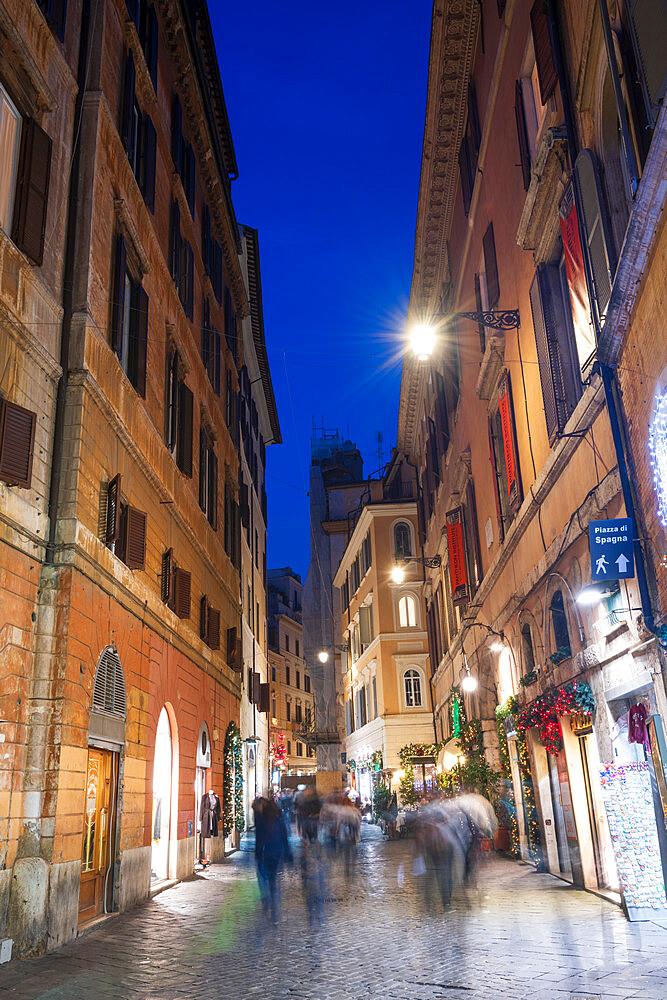 Via Del Pantheon at night, Rome, Lazio, Italy, Europe