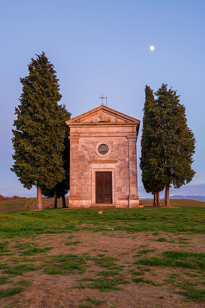 Vitaleta Church (Madonna di Vitaleta) with moon, San Quirico d'Orcia, Val d'Orcia, UNESCO World Heritage Site, Tuscany, Italy, Europe - 1306-701