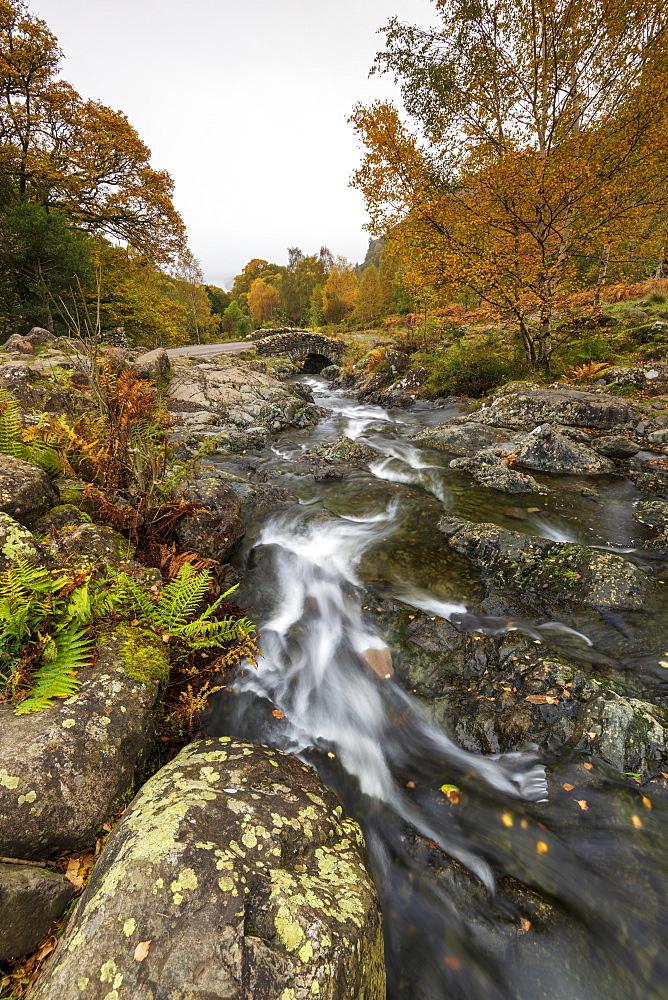 Ashness Bridge in autumn, Lake District National Park, UNESCO World Heritage Site, Cumbria, England, United Kingdom, Europe