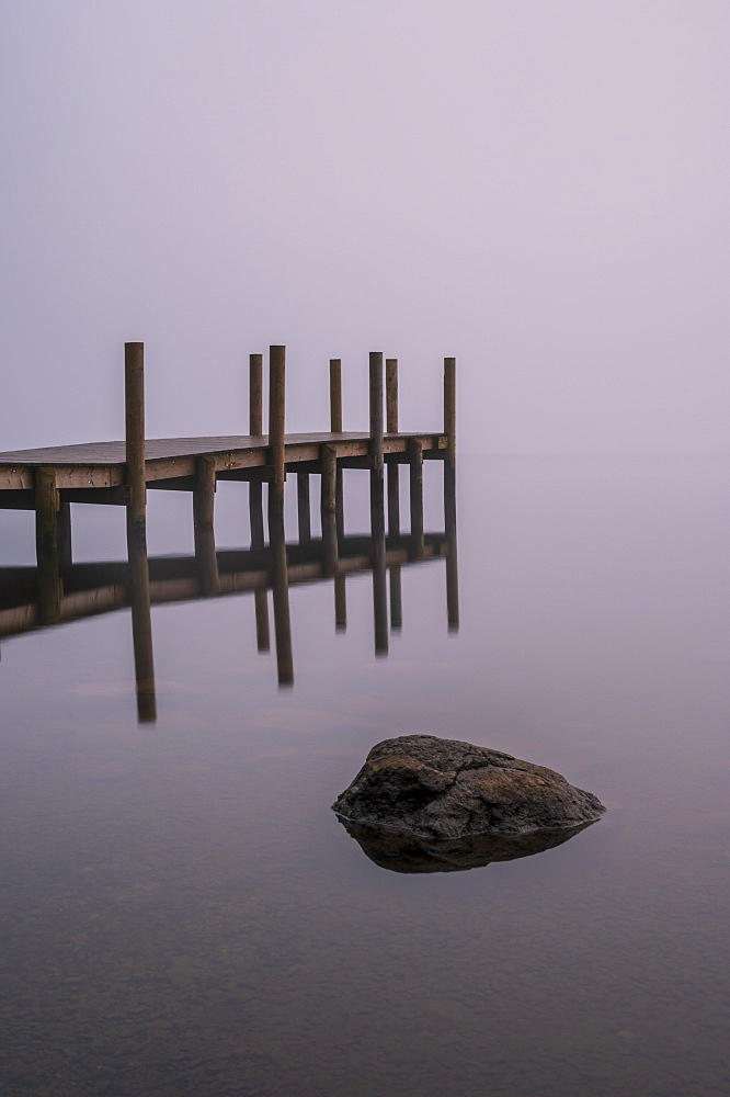 The new Brandlehow Jetty with morning mist, Derwentwater, Lake District National Park, UNESCO World Heritage Site, Cumbria, England, United Kingdom, Europe
