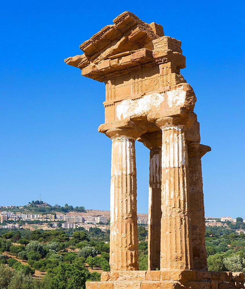 Reconstructed section of the Temple of Castor and Pollux in the UNESCO listed Valley of the Temples, Agrigento, Sicily, Italy - 1310-147