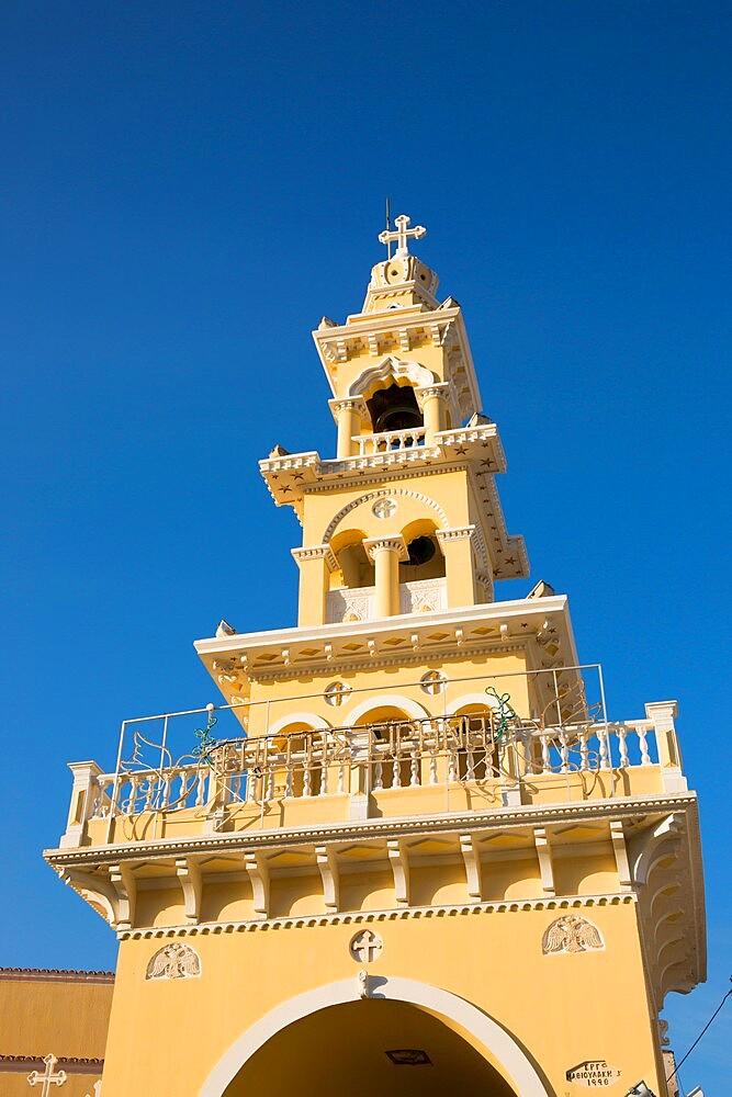 Colourful bell-tower of the Greek Orthodox church, Paleohora, aka Paleochora, Hania, aka Chania, Crete, Greece