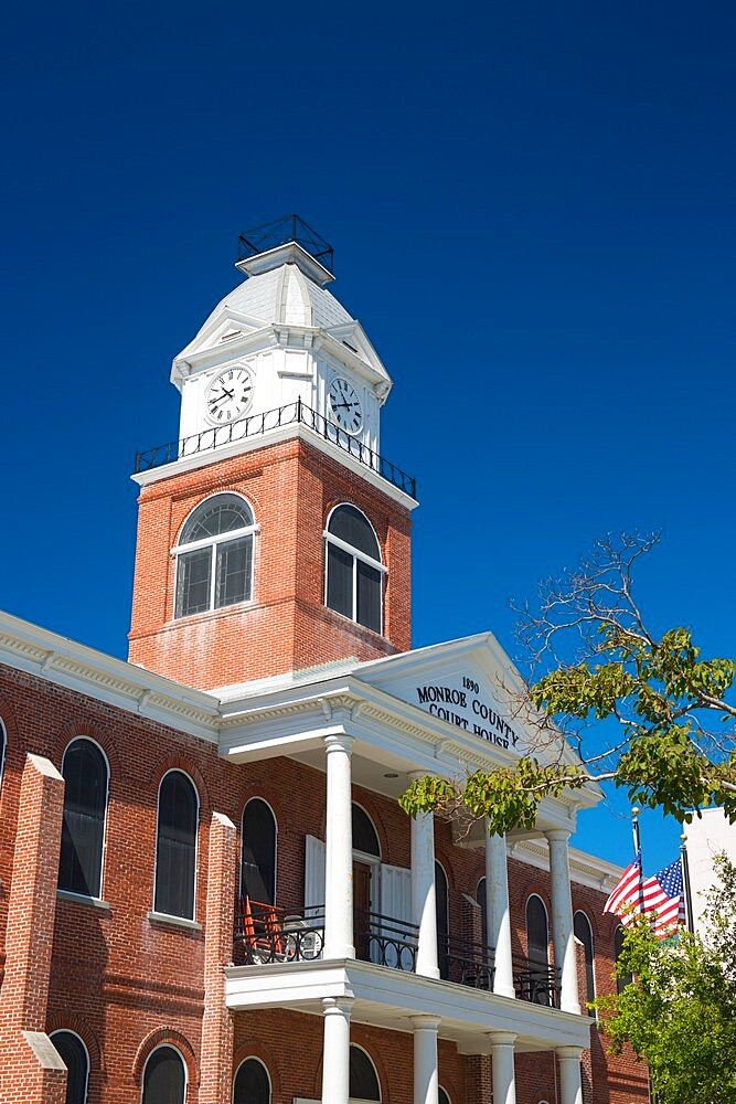 Victorian brick-built clock tower of the Monroe County Court House, Old Town, Key West, Florida Keys, Florida, USA - 1310-282