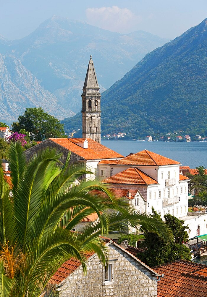 View over roofs to the Bay of Kotor, campanile of the Church of St. Nicholas (Sveti Nikola) prominent, Perast, Kotor, UNESCO World Heritage Site, Montenegro, Europe