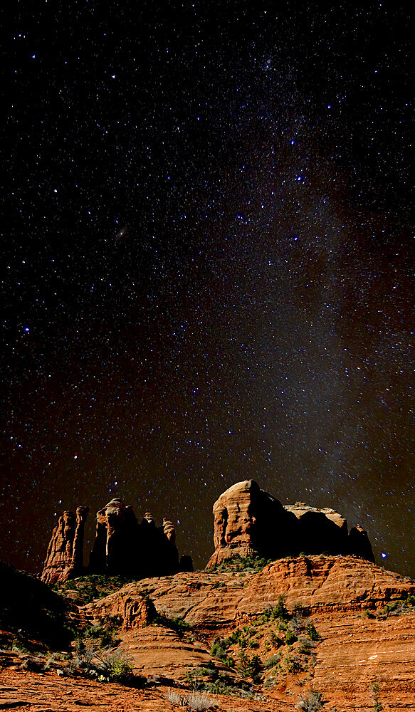 HDR composite of Cathedral Rock in Sedona under the Milky Way sky.