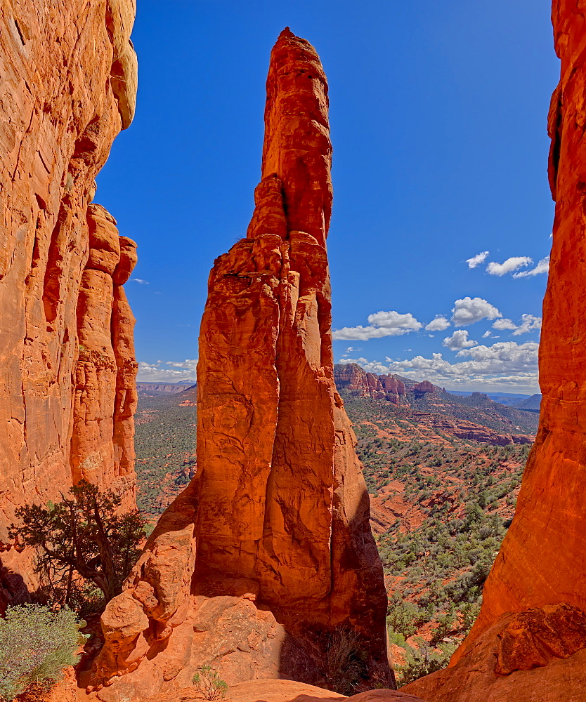 View from the centre spire of Cathedral Rock in Sedona, Arizona, United States of America, North America