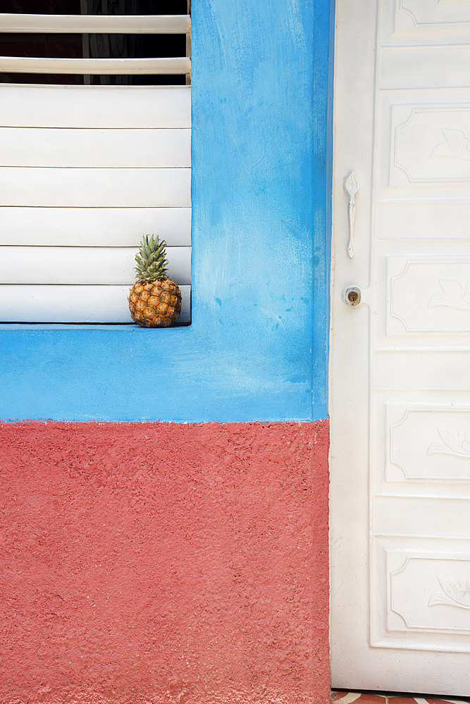 Pineapple on a windowsill in Trinidad, Cuba, West Indies, Caribbean, Central America - 1315-100