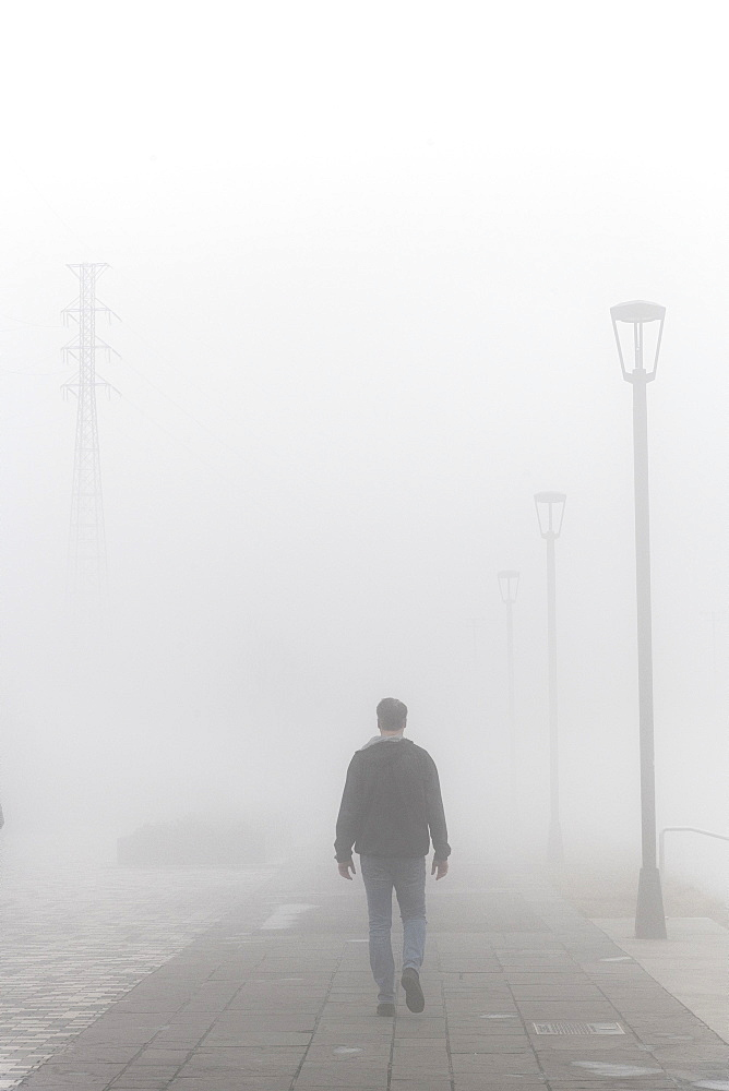 Walking in dense morning fog, French Quarter, New Orleans, Louisiana, United States of America, North America - 1315-230