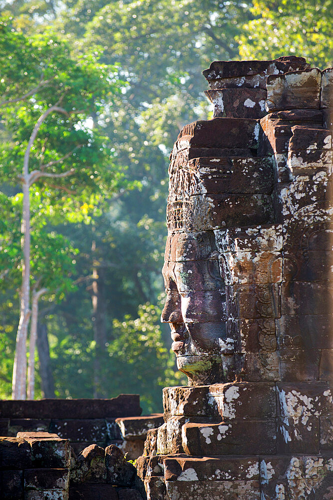 Ruins at the Bayon temple, part of Angkor archeological complex.