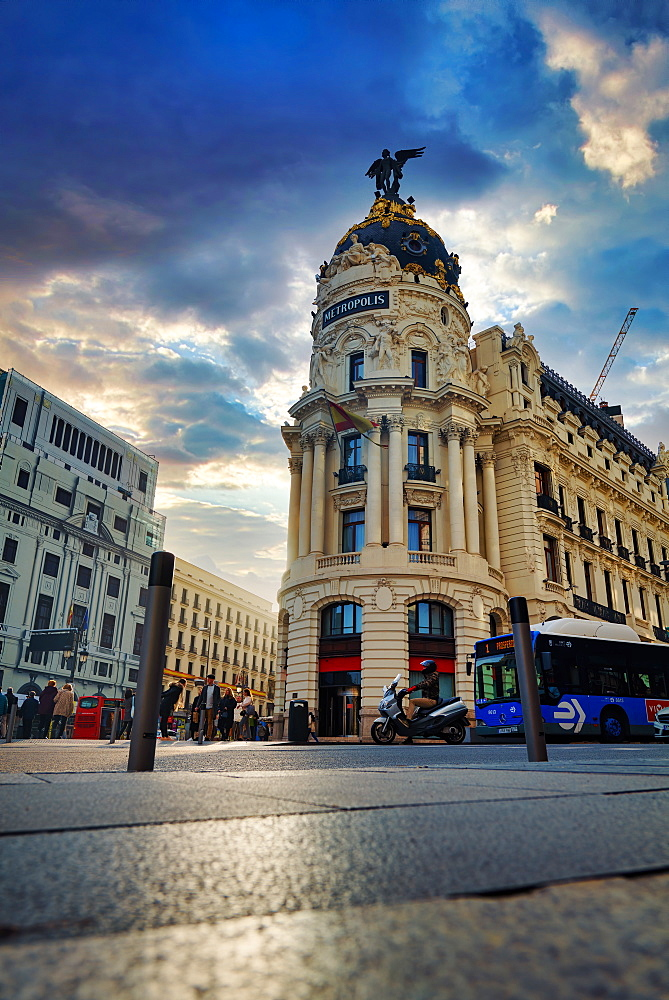 The famous Metropolis Building (Edificio Metropolis) located at Gran Via, Madrid, Spain, Europe - 1319-19