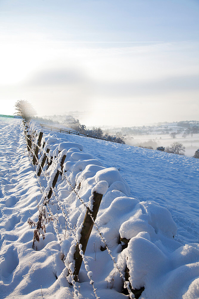 Snow covered dry stone wall, near Almscliff Crag, Wharfe Valley, North Yorkshire, England, United Kingdom, Europe - 132-1026