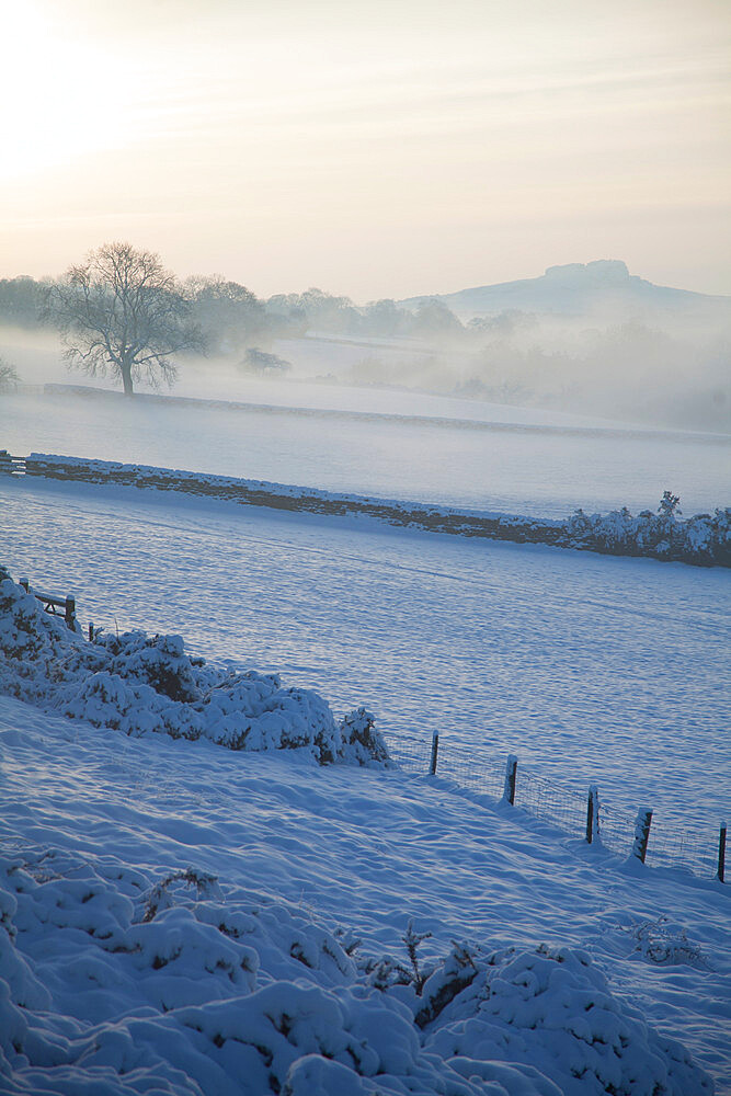 View of Almscliff Crag in the snow, Wharfe Valley, North Yorkshire, England, United Kingdom, Europe - 132-1027
