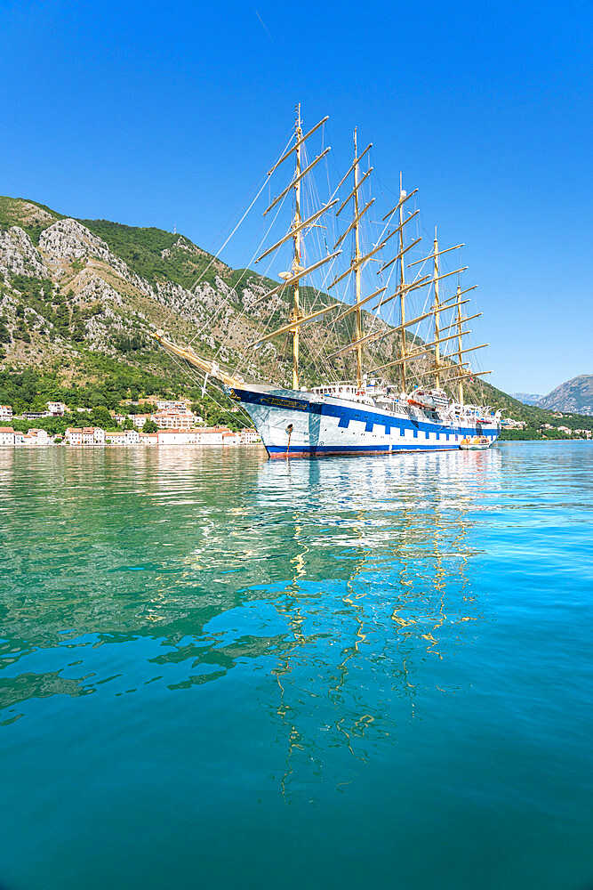 Royal Clipper in Kotor, Montenegro. Worlds largest full-rigged sailing ship.