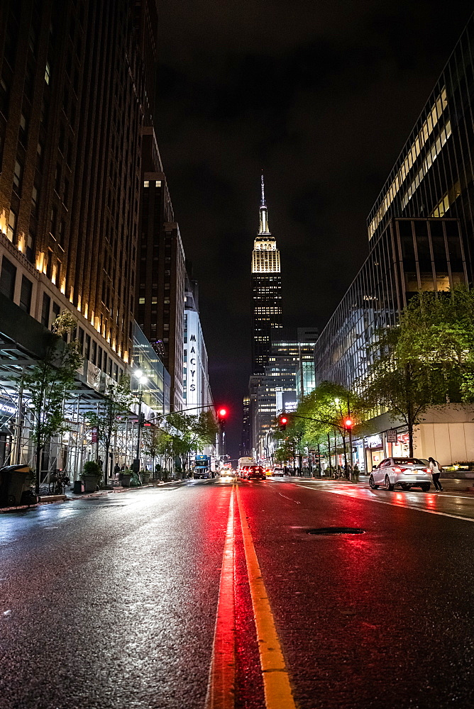 Streets of New York at night, New York, United States of America, North America