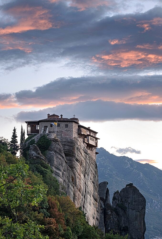 Clouds at sunset over Roussanou monastery, Meteora, Thessaly, Greece - 1336-139