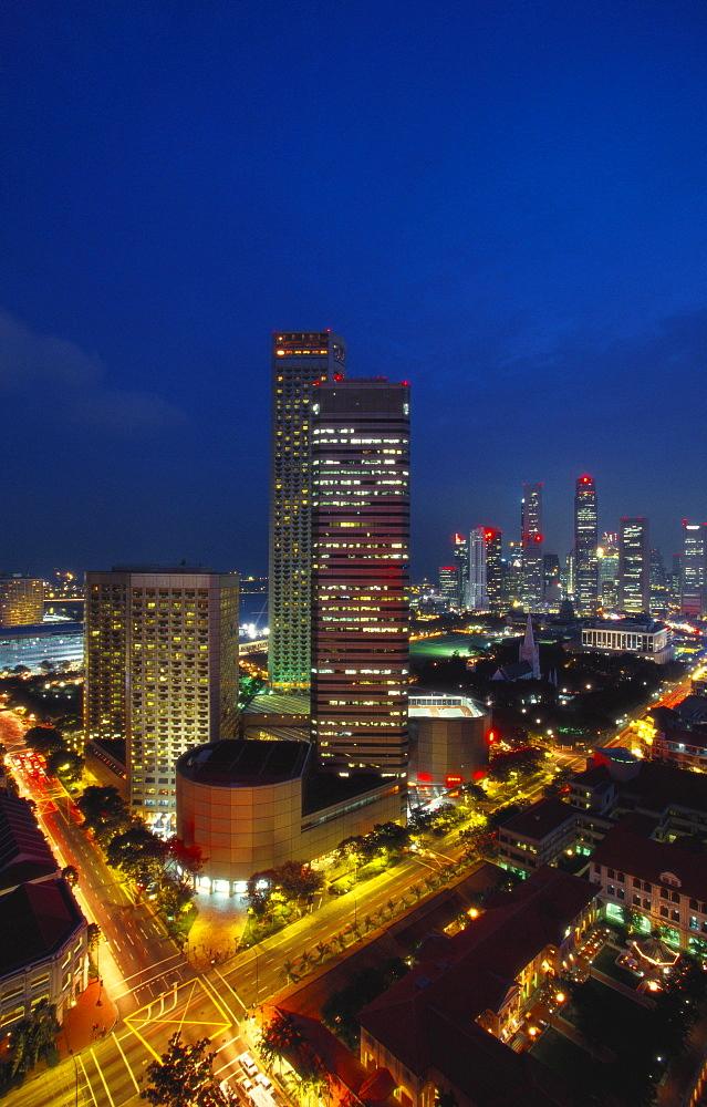 Raffles Hotel at Night and Skyline, Singapore, Asia - 142-5520