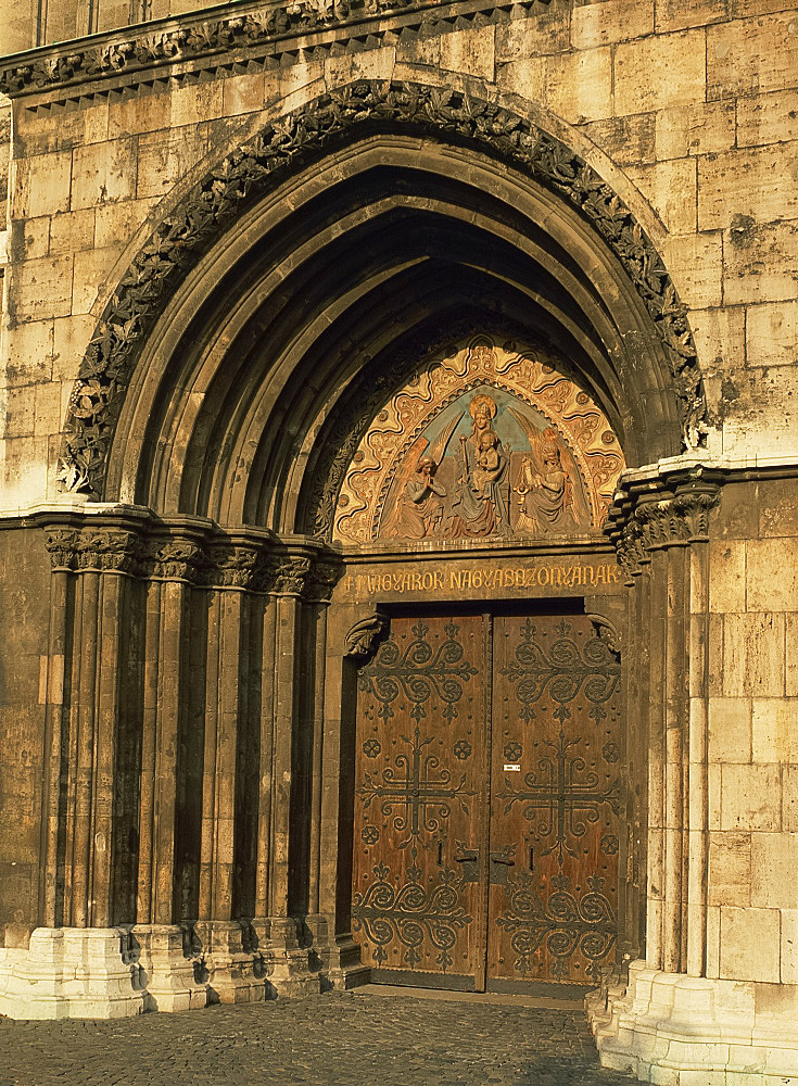 The doorway of Matthias Church in Budapest, Hungary, Europe