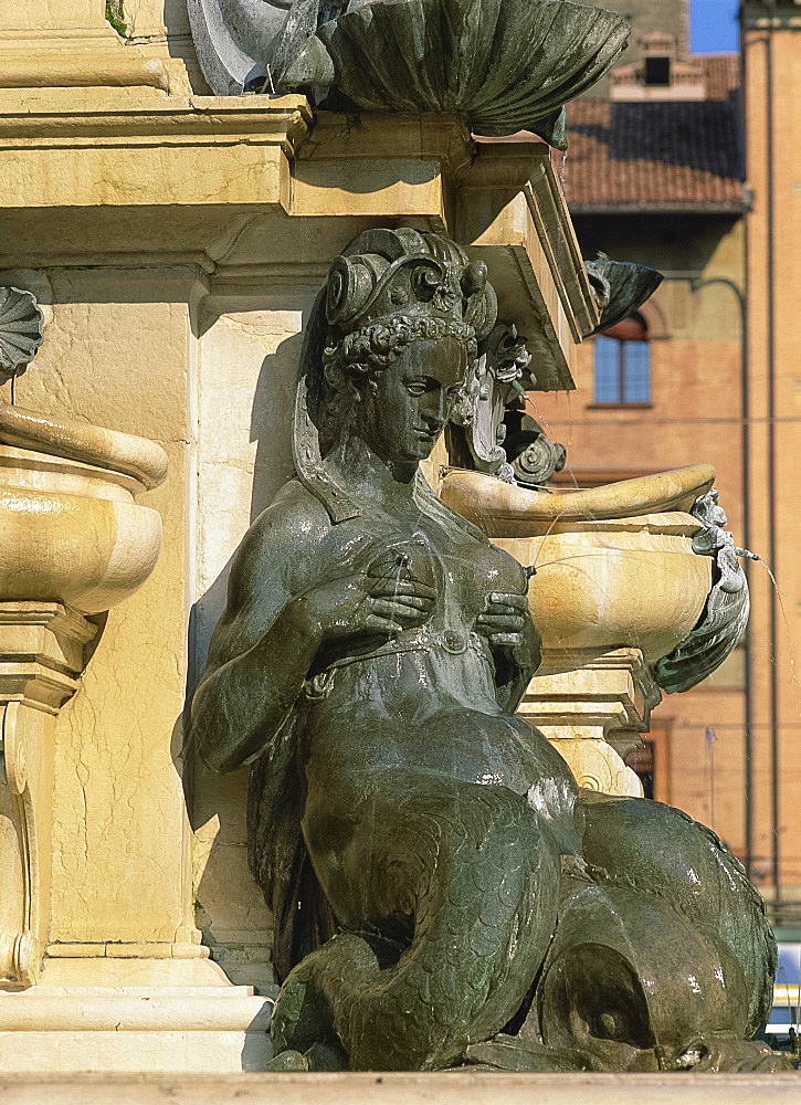 Detail of a female statue on the Fountain of Neptune in Bologna, Emilia Romagna, Italy, Europe