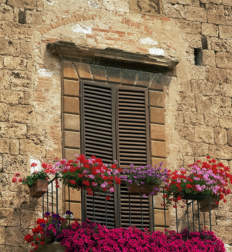 Flower covered balcony, Colle di Val d'Elsa, Tuscany, Italy, Europe