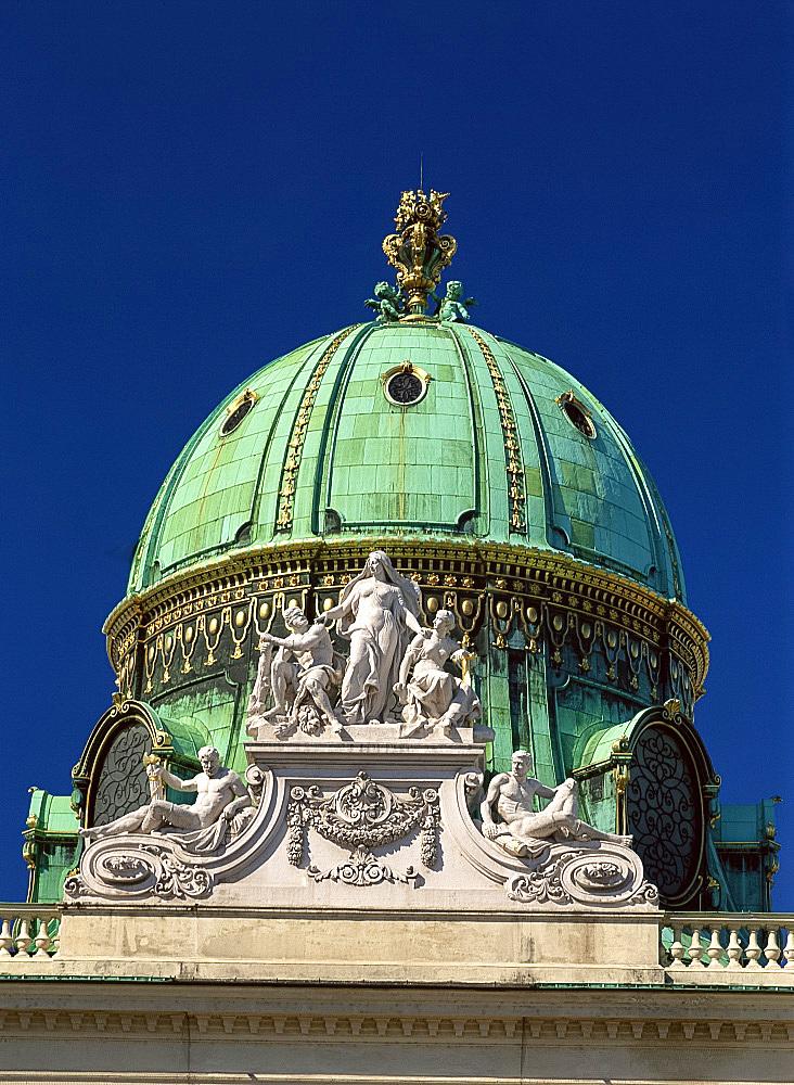 Hofburg Complex dome of the Michaelertrakt, Vienna, Austria, Europe