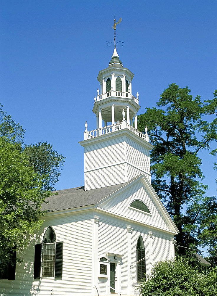 Church steeple, Castine, Maine, New England, United States of America, North America