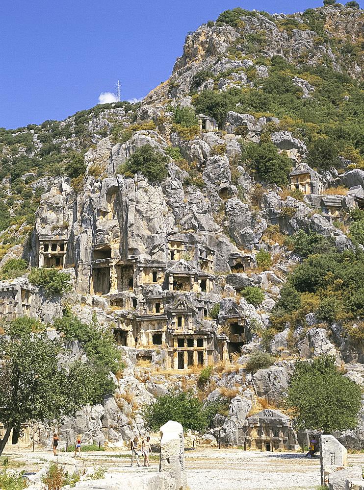 Tombs at ancient Lycian ruins, Myra, Anatolia, Turkey, Asia Minor, Asia