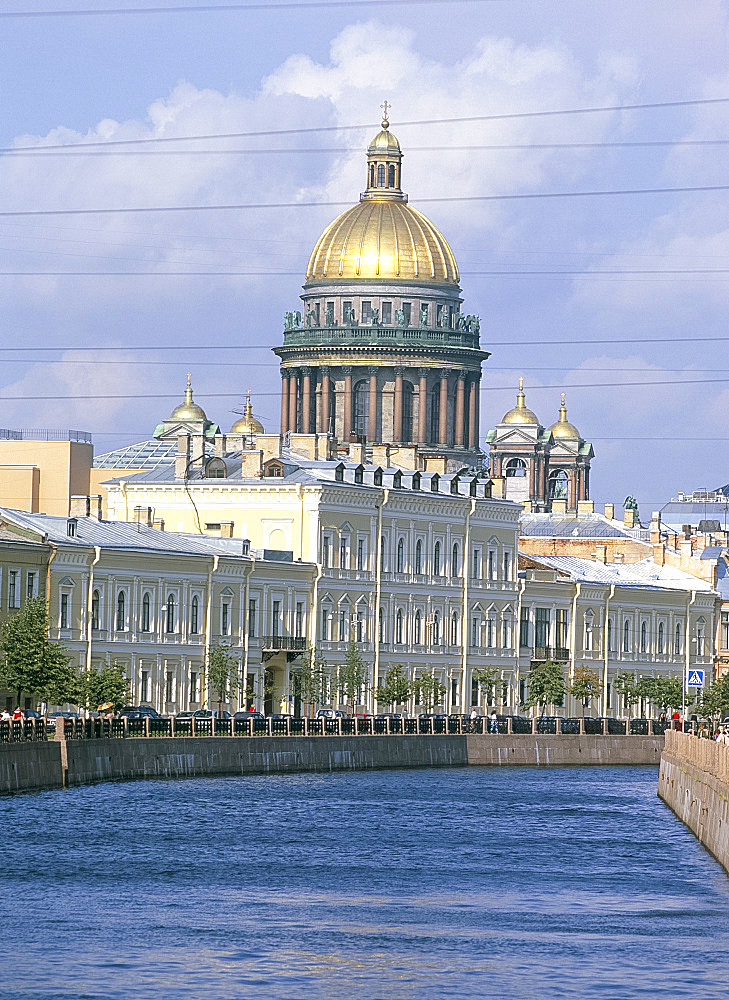 St. Isaac's cathedral and the Moika River, St. Petersburg, Russia, Europe