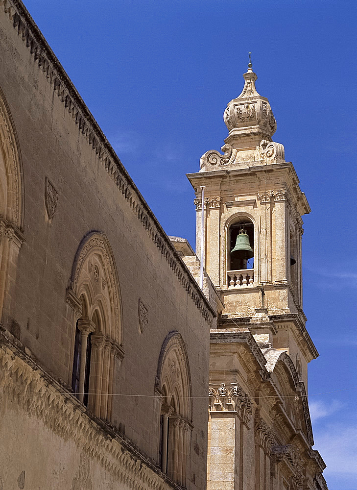 Bell tower in ancient city of Mdina, Malta, Europe