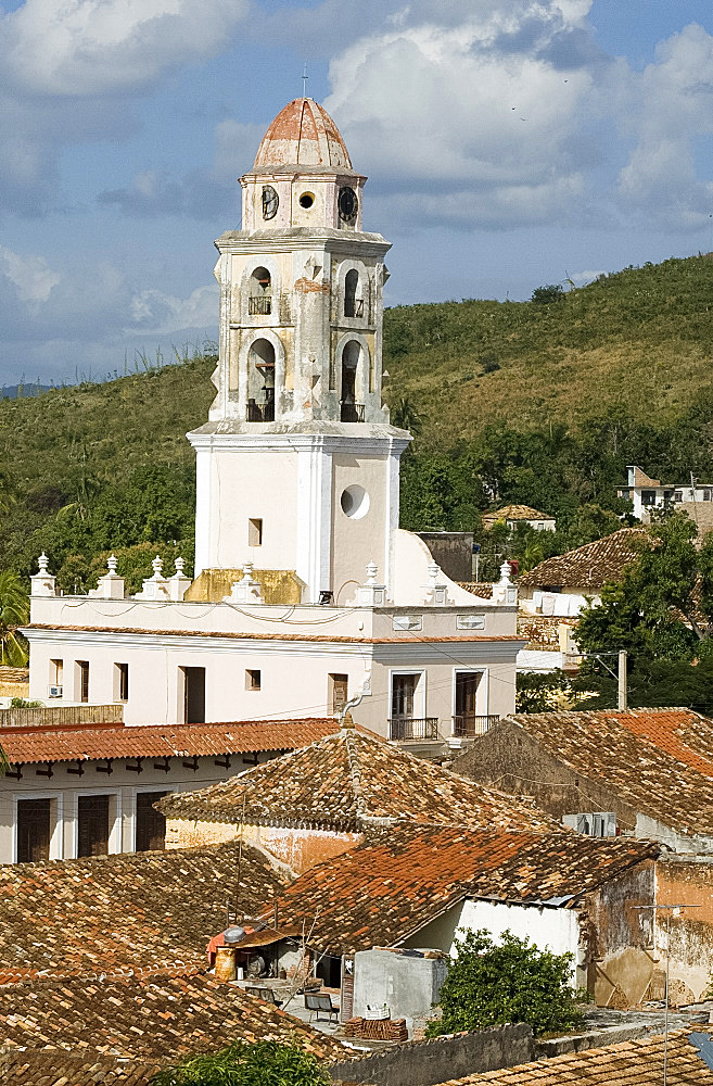 The belltower of Iglesia y Covento de San Francisco and terracotta rooftops, Trinidad, UNESCO World Heritage Site, Cuba, West Indies, Central America