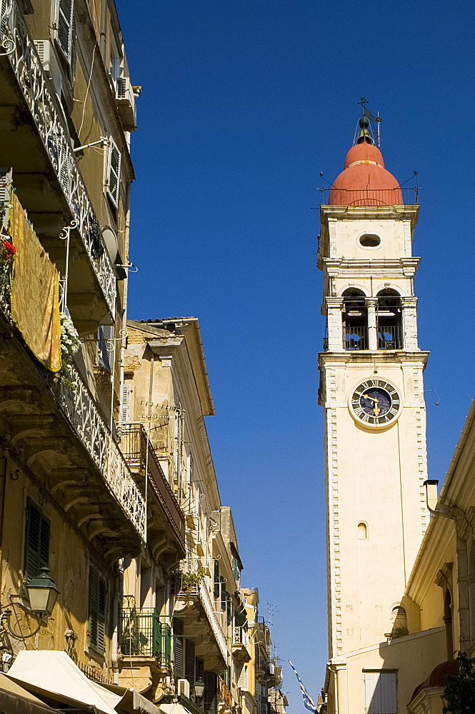 The belltower of St. Sprydonas in Corfu Old Town, Corfu, Ionian Islands, Greek Islands, Greece, Europe