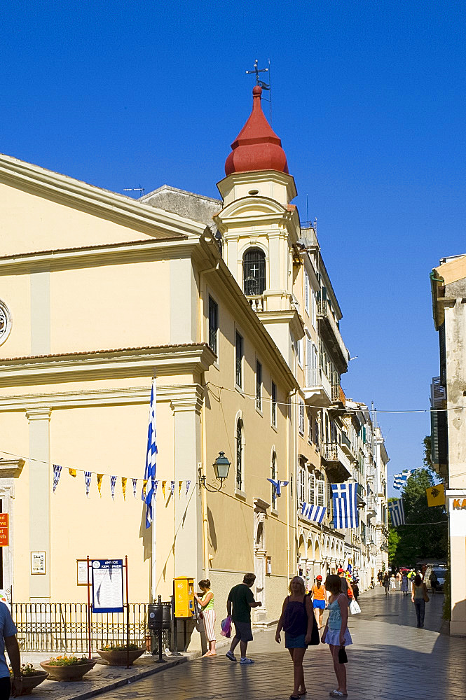 Street scene, Corfu Town, Corfu, Ionian Islands, Greek Islands, Greece, Europe
