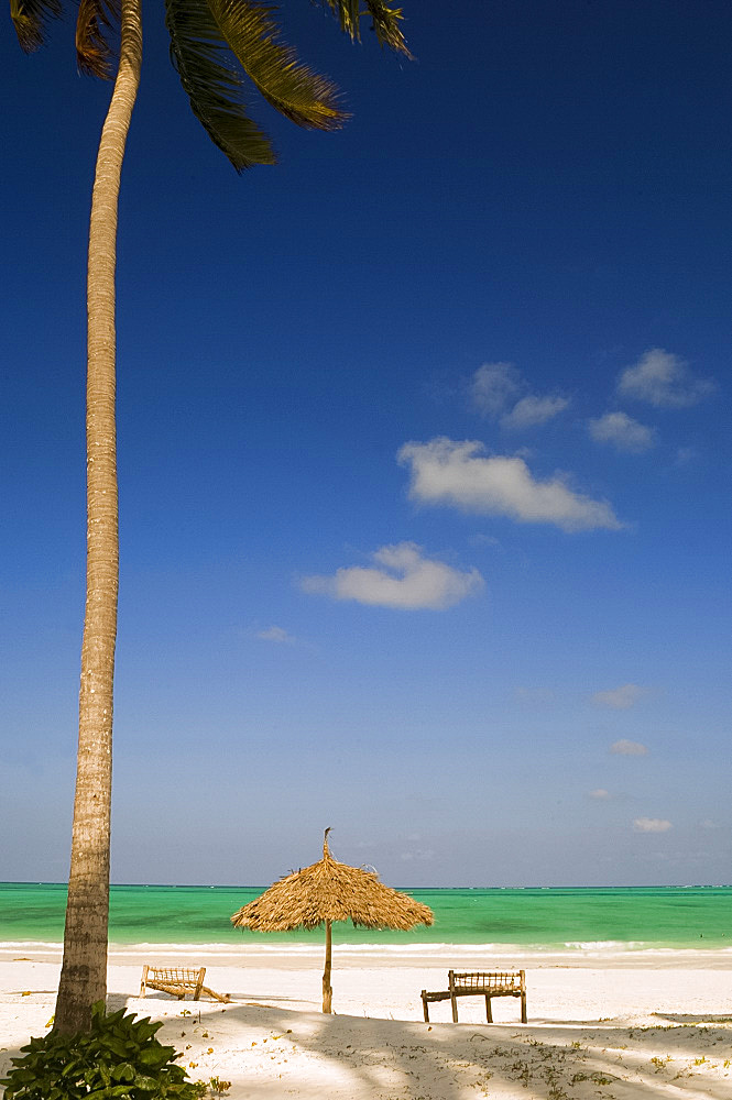 A thatched beach umbrella and traditional sunbeds made from coconut wood, Paje Beach, Zanzibar, Tanzania, East Africa, Africa